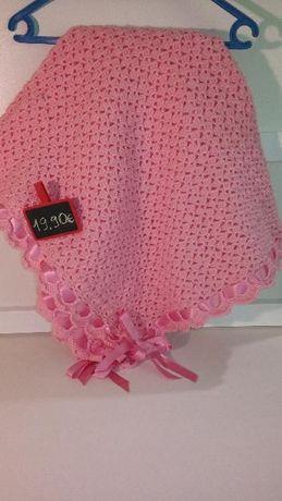 Manta lã cor de rosa bebé menina novo