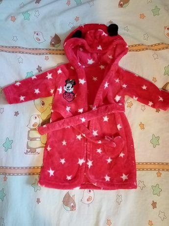 Махровый халат на девочку 12-18 месяцев.Халат Минни Маус