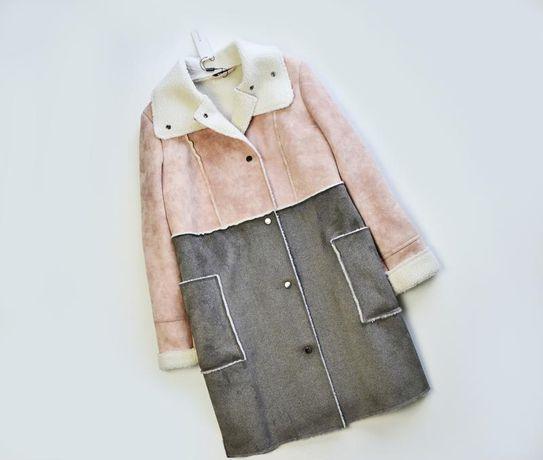 Удлиненная двухцветная дубленка пальто Roman Originals