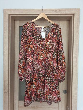 H&M trapezowa sukienka nowa M łączka kwiaty oversize