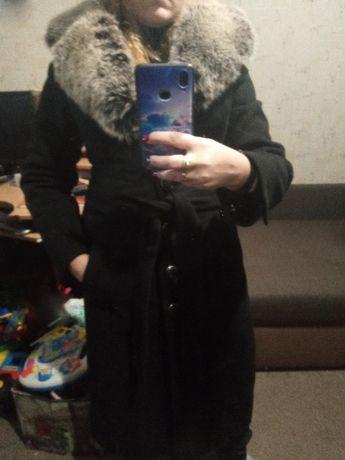 Стильное зимнее кашемировое пальто длинна миди