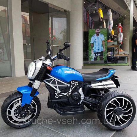 Детский электромобиль Мотоцикл M 4008, DUCATI, надувные колеса, кожа