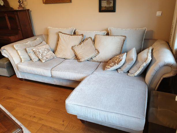 Sofa narożnikowa - Aquaclean + 2 pufy