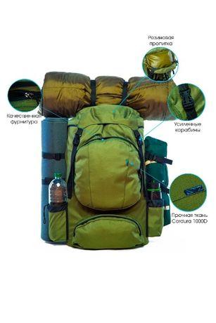 Туристический рюкзак 80 литров (Oxford-PU 1600D) Оливковый