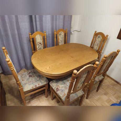 Stół dębowy rozsuwany piękny! i komplet 6 krzeseł