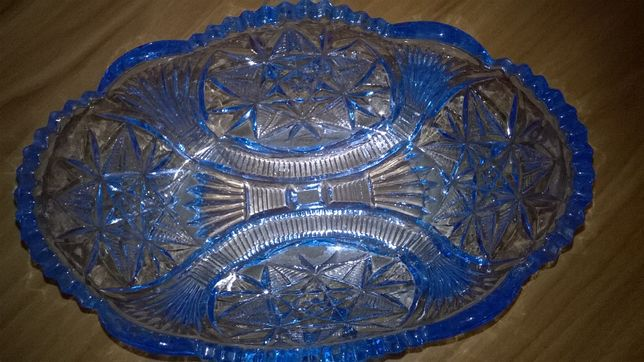 Huta Hortensja szkło,niebieskie i białe