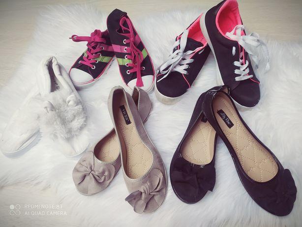 Zestaw butów dziewczęcych r.36-37 baleriny trampki