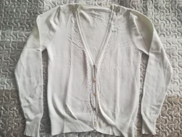 Biały kardigan na guziki/sweter roz. S