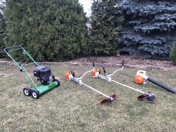 Koszenie trawy, trawników, wertykulacja, wycinanie i obcinanie drzew