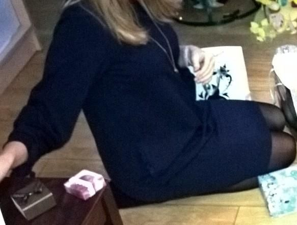 Reserved sukienka oversize ciążowa ciąża granatowa elegancka 34/xs