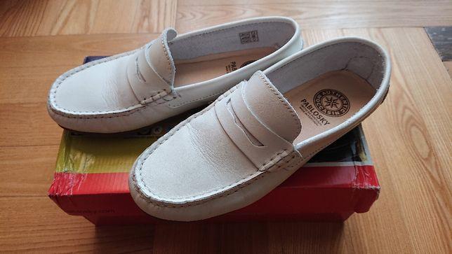 Buty chłopięce białe komunijne mokasyny 37 STAN BDB Wysyłka gratis