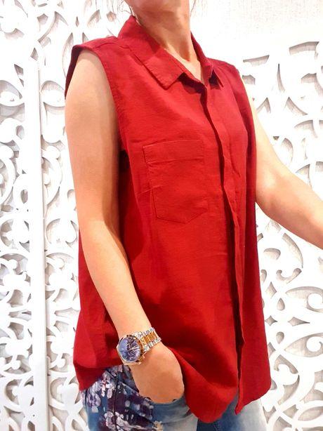 Рубашка лен марсала бордовая бренд M&S майка блуза Германия