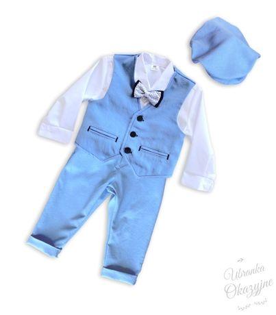 Elegancki garniturek do chrztu,  zestaw dla chłopca rozm 68, 74