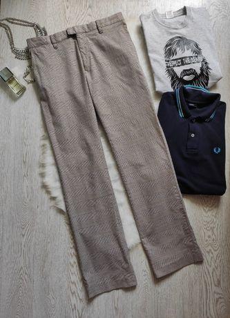 Бежевые коричневые в клетку мужские брюки штаны широкие высокий рост