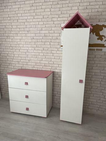 Komoda i szafa Konsimo domki z kolekcji Pabis/biało-różowe