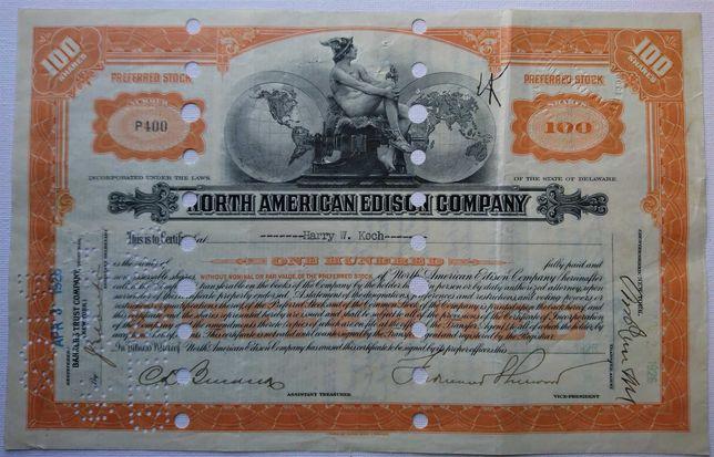 Share Certificate Norte Americano Antigo - Edison