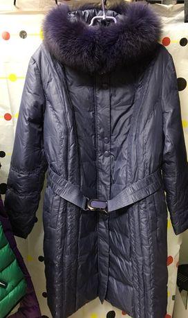 Пальто пуховик, длинный пух 100%, большой размер 60р. ЛЮКС КАЧЕСТВО!!
