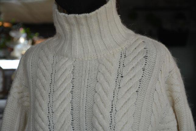 L XL sweter golf biały ecru kremowy warkocz stójka wełniany 42-46