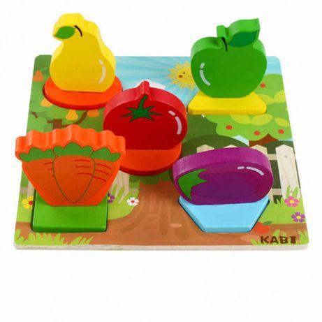 Деревянная игрушка Рамка-вкладыш, пазл для малыша (овощи, насекомые)
