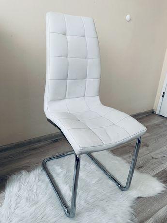 Nowoczesne białe krzesło eco skóra na płozach Agata Meble