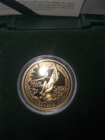 Sprzedam złotą monetę Polska reprezentacja olimpijska Pekin  nomin 200