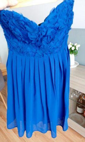 Niebieska zwiewna sukienka s m