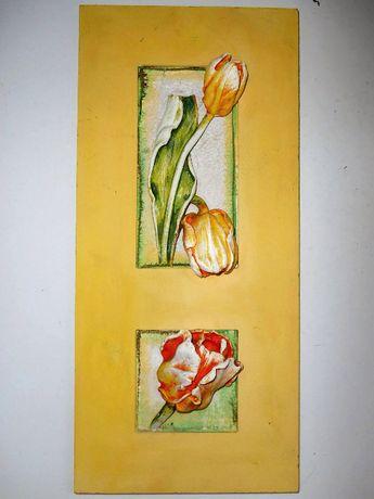 Объемная картина панно с тюльпанами