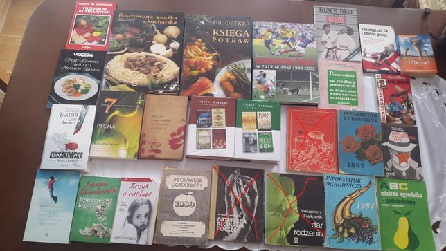 Kulinarne, poradniki ogrodnicze, literatura itp. różne.