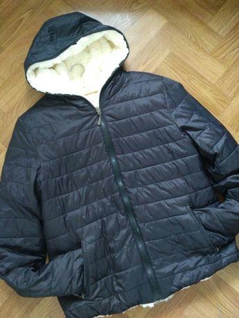 Зимняя теплая двухсторонняя куртка с мехом chicoree