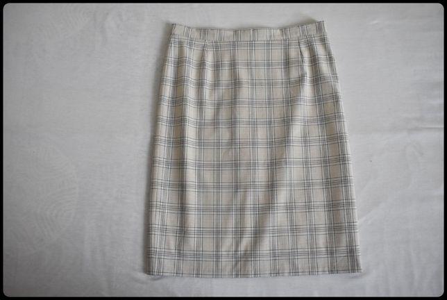 Beżowa spódnica ołówkowa w kratkę 42 XL stan bdb