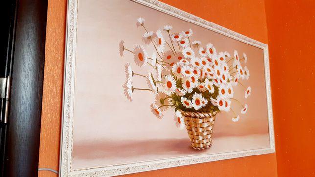 Чудесная Рисованная картина большая 105*55 Цветы в бело-золотом багете
