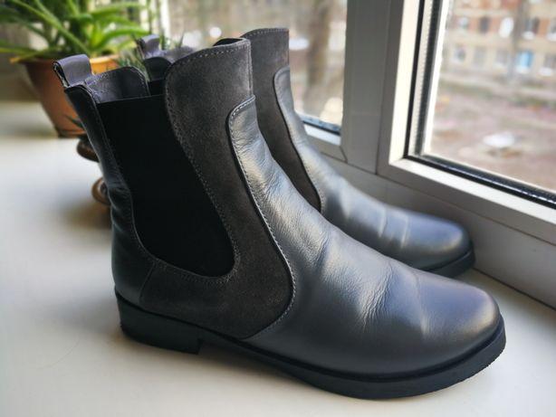 Ботинки сапоги челси, осень, зима, серые