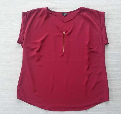 Bordowa bluzka z ozdobnym zamkiem r.48