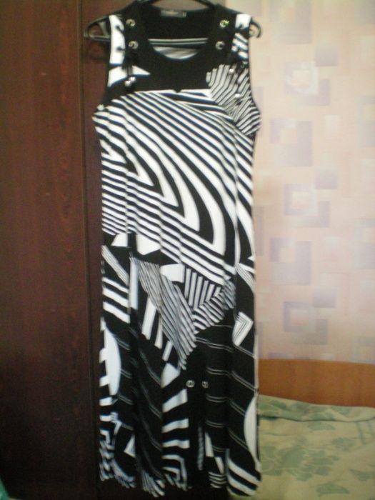 Платье сарафан длинное стрейч черно-белое с камушками стильное Харьков - изображение 1