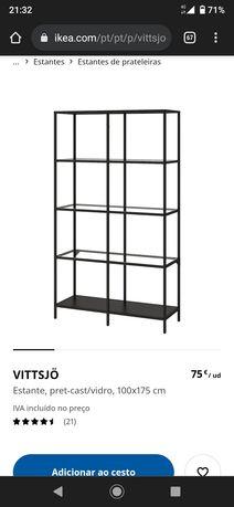 Estante metal e prateleiras de vidro IKEA