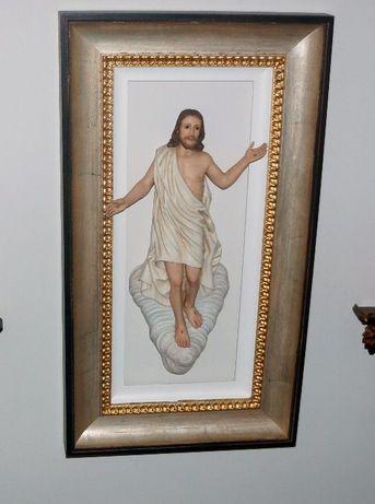 Imagem Jesus Cristo Arte Sacra, Esc.José Fontes, em Moldura iluminada