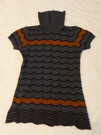 Sukienka sweter damska tunika L krótki rękaw