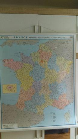 Mapa Francji ścienna powłoka plastykowa cm 80x100
