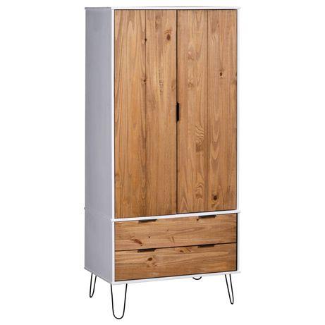 vidaXL Roupeiro New York Range madeira de pinho maciça clara/branco 321135