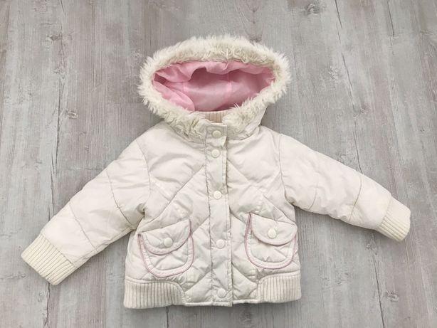 Kurtka zimowa 74 cm puchowa biała różowa puchowa z kapturem