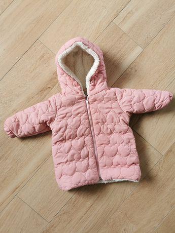 Kurtka zimowa dziewczęca z kapturem pikowana ocieplana