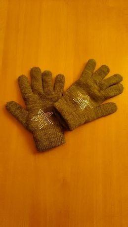 Śliczne cieplutkie rękawiczki dla dziewczynki na 7-11 lat