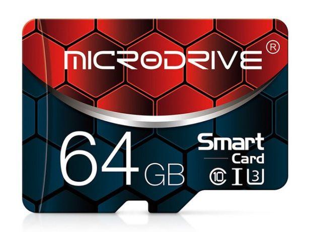 Карта памяти Micro SD, TF 10 класса на 64 + адаптер