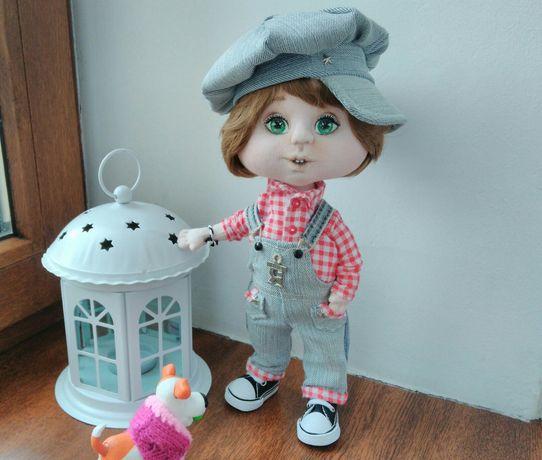 Авторская текстильная кукла мальчик в стиле ретро ручной работы