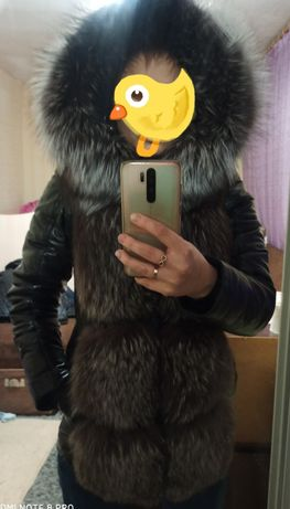 Кожаная куртка осенняя, зимняя , чернобурка