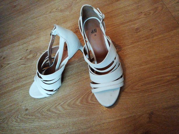 H&M buty obcasy szpilki białe EU 38 US 7