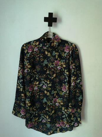 Tunika w kwiaty kwiatki kwiatuszki floral print 40 L wiązana koszula