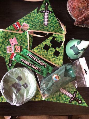 Гирлянда майнкрафт, тарелки, колпачки, браслеты, салфетки, minecraft