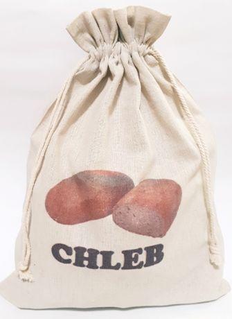 Worek lniany na chleb ziemniaki orzechy grzyby duży 30x40 woreczek