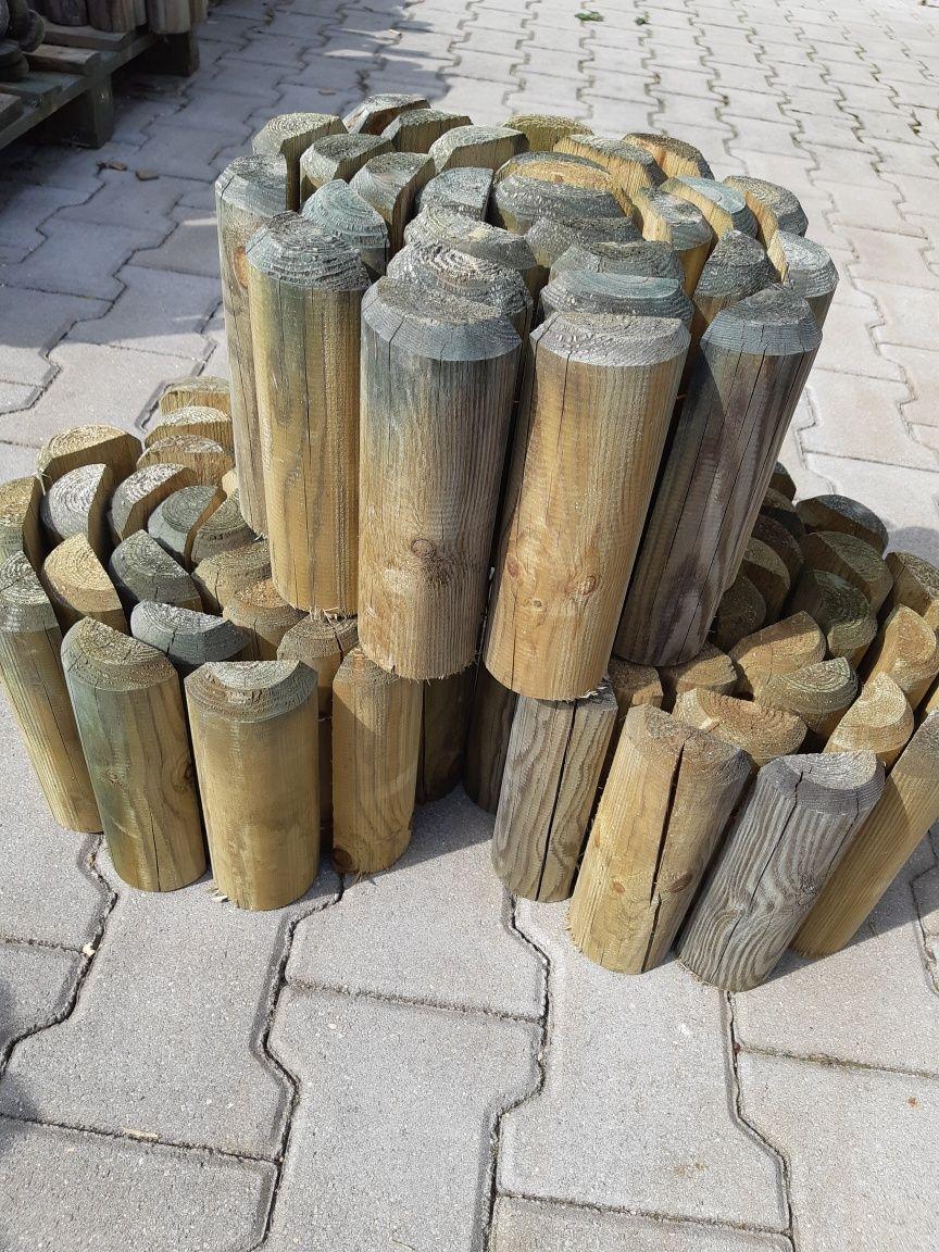 Rollborder, drewniany płotek, obrzeże ogrodowe